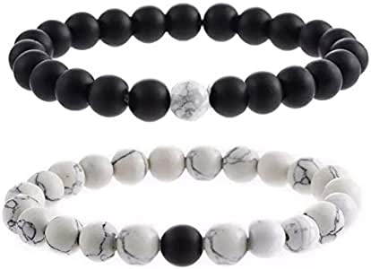 2Pcs Couples Distance Bracelet Classic Natural Stone White Black Beaded Bracelets for Men Women Best Friend memory gift