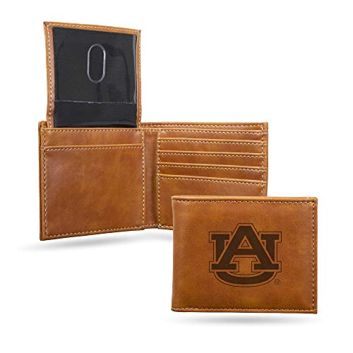 Rico Industries NCAA Auburn Tigers Laser Engraved Billfold Wallet, Brown
