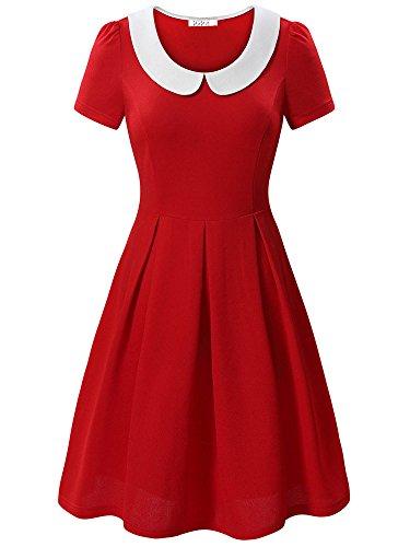 KIRA Annie Dress, Womens Vintage Peter Pan Collar Short Sleeve Skater Dress -