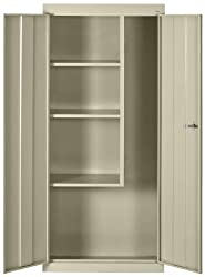 Sandusky Lee VFC1301566-07 Putty Steel Janitorial/Supply Cabinet, 3 Shelves, Cam Locking System, Powder Coat Finish, 66