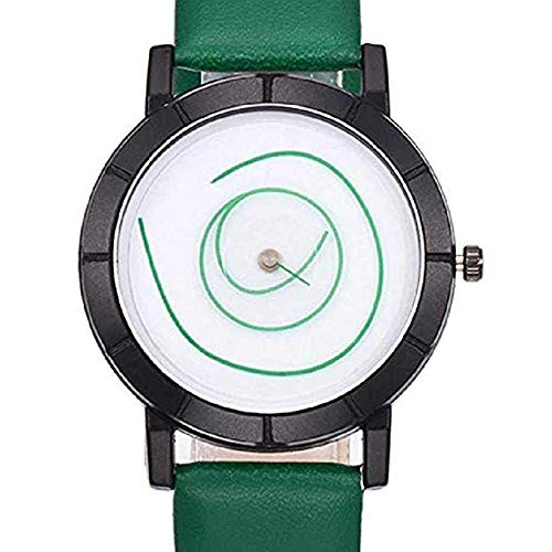 FAVOT 2019 Unisex Casual Watch Unique Spiral No Scale Round Dial Leather Strap Student Couple Analog Quartz Watch (Green) ()