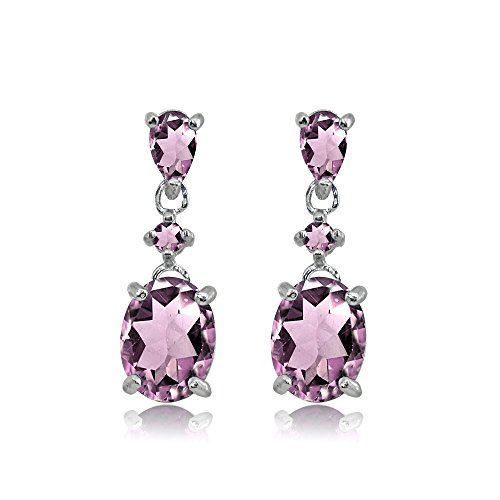 (Sterling Silver Simulated Alexandrite Oval Three Stone Dangling Stud Earrings)