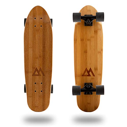 Magneto Mini Cruiser Skateboard Cruiser | Short Board | Canadian Maple Deck - Designed for Kids, Teens and Adults ... (Bamboo)