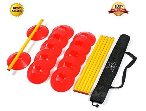 Agility Ladder Speed Training Equipment: 6 Poles, 12 Cones, Carry Case & Bonus Workout Drills eBook