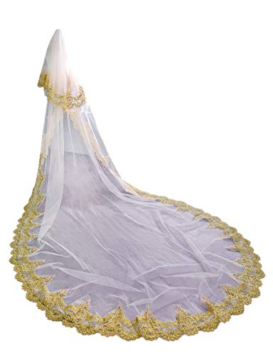 EllieHouse Women's Gold Lace 2 Tier Wedding Bridal Veil With Comb S02WT White