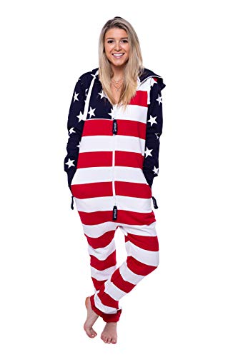 American Man Adult Costume - American Flag Onesie (XL), Red, White, and Blue