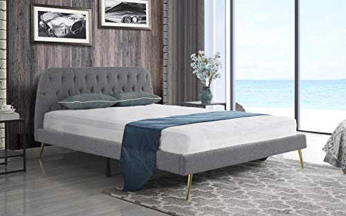 Fabric Bed Frames - Mid Century Modern Elegant Fabric Bed Frame (King, Grey)