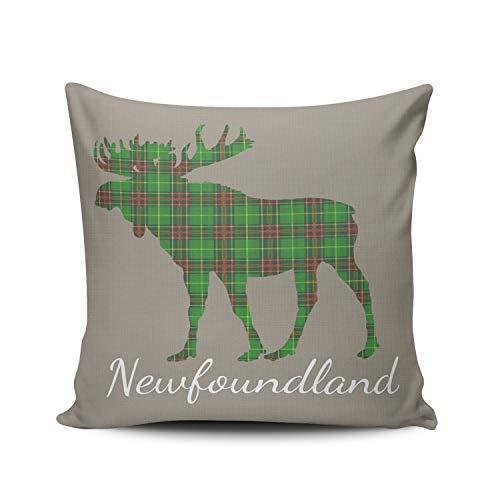 Tartan Newfoundland (WEINIYA Home Decoration Throw Pillow Case Green 24X24 Inch Newfoundland Tartan Custom Moose Taupe Square Custom Pillowcase Cushion Cover Double Sided Printed (Set of 1))