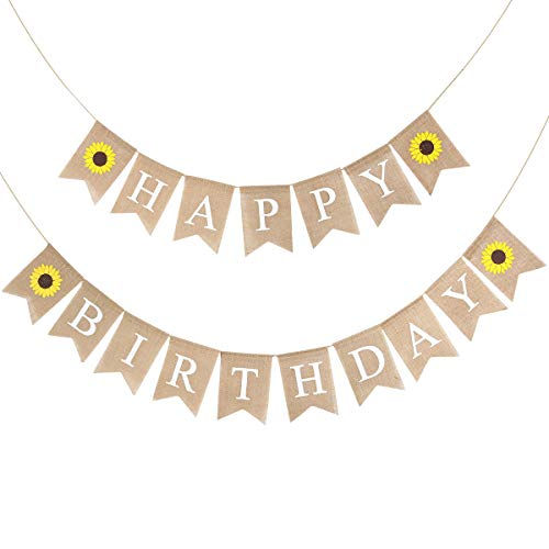 Happy Birthday Pull - BESTOYARD Birthday Bunting Banner Decorative Burlap Banner Linen Swallowtail Pull Flag Party Supplies (Happy Birthday Letters Sunflower Pattern)