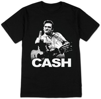 Johnny Cash Flipping the Bird Finger Black Adult T-shirt Tee (Small) (Johnny Cash Flipping)