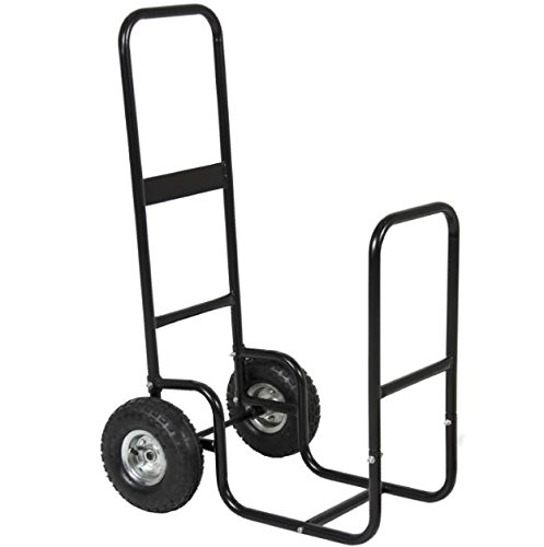 RP New Black Firewood Cart Log Fire Wood Carrier Holder Rack Cover Rolling Dolly Caddy Fireplace Mover Hauler Storage Wheels Trolley Portable Transport Steel Backyard Patio Garden