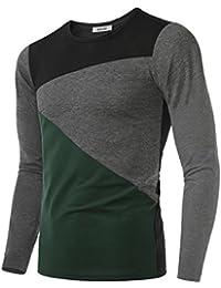"<span class=""a-offscreen"">[Sponsored]</span>Men's Contrast Color Crew Neck Long Sleeve Casual T-Shirt Top Slim"