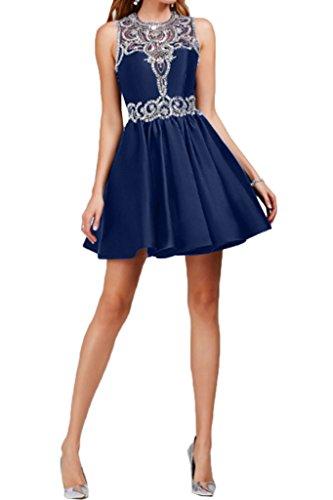 Missdressy - Vestido - plisado - para mujer azul marino