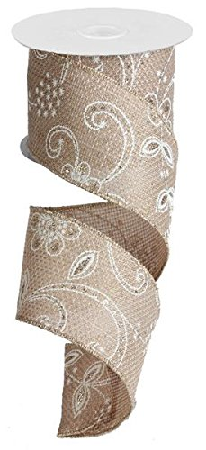 Everyday Floral Lace Faux Burlap Wired Edge Ribbon - 2.5 Inch x 10 yards (Beige, Ivory, Gold, Silver) : - Lace Vases