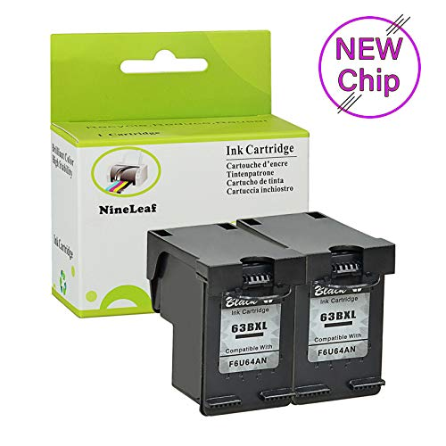 - NineLeaf Remanufactured F6U64AN Ink Cartridge Replacement for 63BXL 63XL 63 XL OfficeJet 3831 3832 Printers High-Yield 480 Pages, Ink Level Indicator (Black,2 Pack)