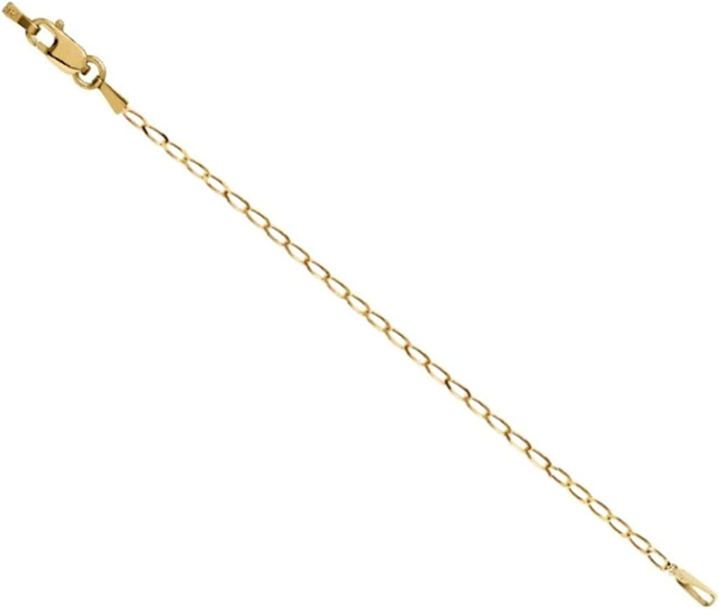 14K Yellow Gold Curb Chain Necklace 1.25mm Extender Safety Chain