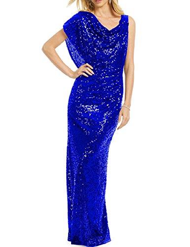 Blue Bodycon Floor Prom BessWedding Women's Evening Length BP003 Royal Sequins Dresseses 2018 TxPFfA