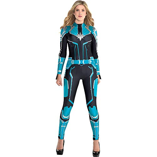 Costumes USA Captain Marvel Starforce Halloween Costume for Women, Superhero Jumpsuit, Medium, Dress Size 6-8 -