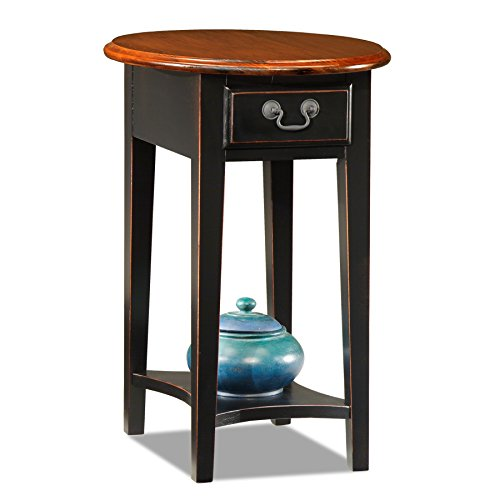 Leick Oval End Table, Slate Black