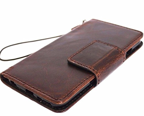 Genuine Real Leather Case for Samsung Galaxy Note 8 Book Wallet magnetic closure cover Handmade Retro Luxury cards slots brown Daviscase