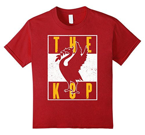 Liverpool Soccer T-shirts - Kids The Kop Liverpool Soccer Football T-Shirt 10 Cranberry