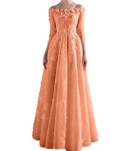 4 Promkleider Schulterfrei Orange Damen Abendkleider Lang Kleider Spitze Langarm Brautmutterkleider Charmant Jugendweihe 3 wAUcqSFvvB