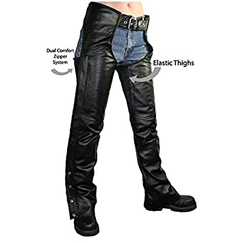 Xelement B7556 Womens Black Braided Zippered Leather Chaps - 12