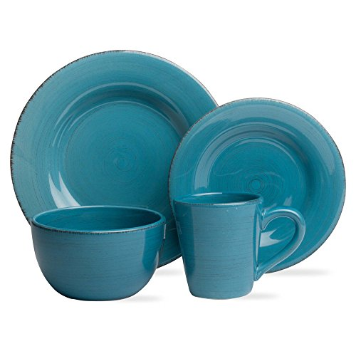 tag - Sonoma 16-Piece Ironstone Ceramic Dinner Set, A Stylish Way to Bring Bold Color to Your Table, Turquoise ()