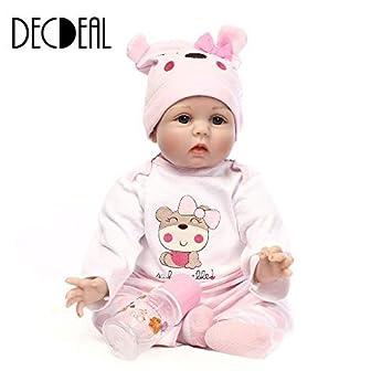 3e3def839456c Decdeal Poupée Silicone Reborn Baby Doll avec Les Cheveux Enracinés  Vêtements Couche Bébé Nouveau-Né