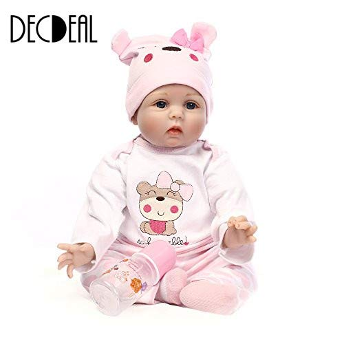 Decdeal Reborn Toddler Baby Doll Boy Silicone Body Boneca With Clothes Blue Eyes Lifelike Cute Gifts Toy
