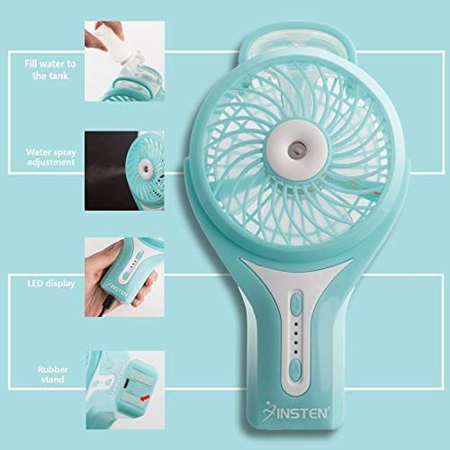 Insten Portable Misting Handheld Fan, Mini Cool Mist Personal Humidifier w/USB Rechargeable Battery, Powerful Water Spray Cooling Electric Fan for Travel Outdoor Camping Music Festival Blue (3 Speed)
