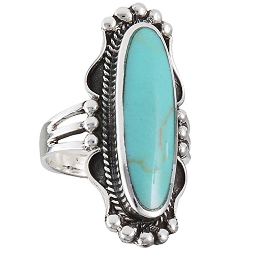 - Sterling Silver Rope Beaded Edging Long Simulated Turquoise Ring Size 8