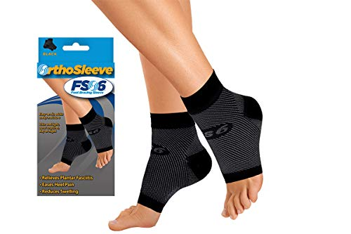 OrthoSleeve FS6 Compression Foot Sleeve (One Pair) for Plantar Fasciitis, Heel Pain, Achilles Tendonitis and Swelling (Black, XX-Large)