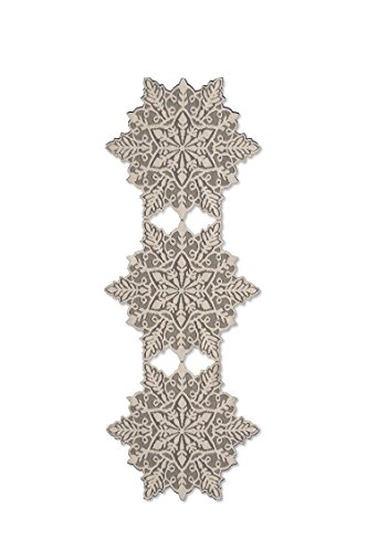 Heritage Lace Snowflake Runner, 15 by 39-Inch, Silver (Snowflake Runner)