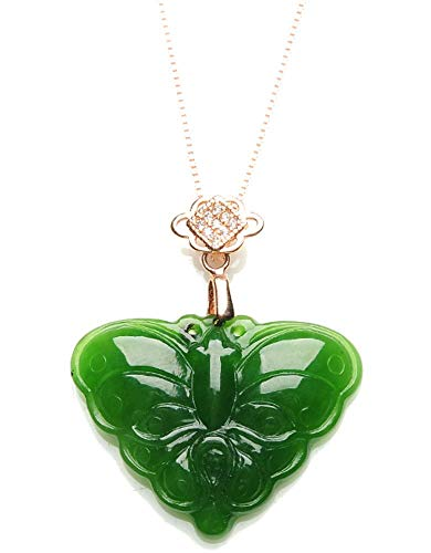 MPH-jewelry Natural Nephrite Hetian Jade Pendant Hand Carved- Butterfly Carved Jade Butterfly Pendant