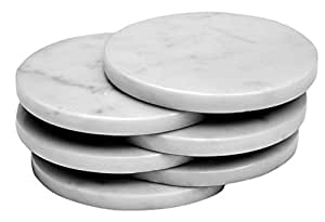 Set of 4 - White Marble Stone Coasters – Polished Coasters – 3.5 Inches ( 9 cm) in Diameter – Protection from Drink Rings -CraftsOfEgypt