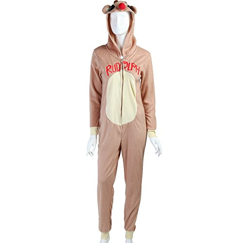 Rudolph And Clarice Costumes (Rudolph the Red-Nosed Reindeer Costume Hooded Women's Unionsuit - Brown (Large))