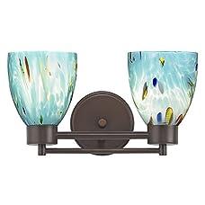 Modern Bathroom Light with Blue Glass in Neuvelle Bronze Finish