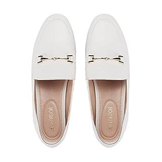 JENN ARDOR Women's Penny Loafers Slip On Flats Comfort Driving Office Loafer Shoes White