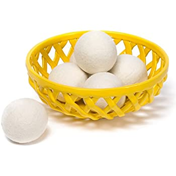 Wool Dryer Balls by Pure Homemaker, 6 Pack XL Organic Wool, Non-Toxic, Reusable, X-tra Large. Reduces Drying Time and Chemical Free. Natural Fabric Softener