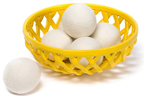 Wool Laundry Dryer Balls for Static - Handmade Nontoxic Hypoallergenic 100% Organic Reusable Ball - Softens Fabrics & Reduces Fabric Wrinkles - Natural Softener & Perfect for Sensitive Skin - 6-Pack ()