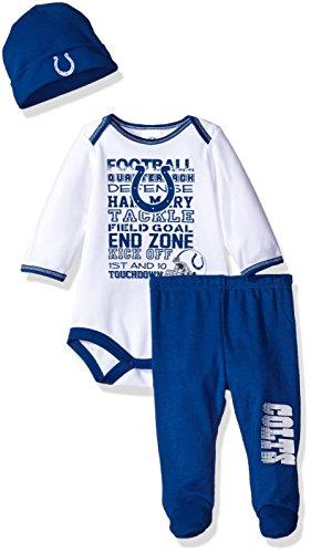 NFL Indianapolis Colts Unisex-Baby Bodysuit, Pant, Cap Set, Blue, 0-3 Months