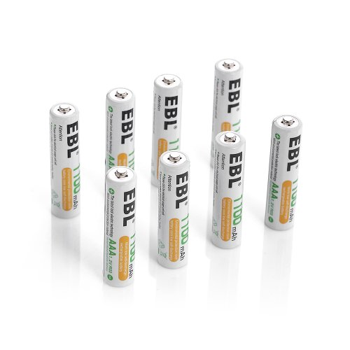 EBL 8 Pack 1500 Cycle 1100mAh AAA Ni-MH Rechargeable Batteries AAA (Typical 1100mAh, Minimum 1000mAh) (8 Aaa 1000mah Nimh Batteries)