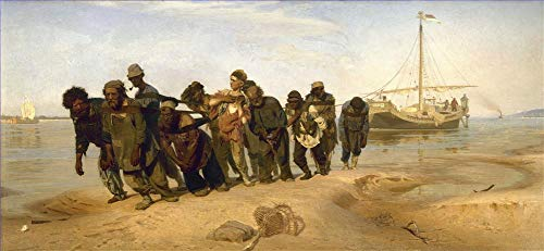 $50-$4000 Hand Painted Art Paintings by College Teachers - Haulers on The Volga 1873 Russian Realism Ilya Repin Oil Painting Reproduction for Wall Decor Canvas Old Famous -Size08