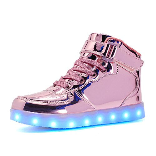 Voovix Kids LED Light Up Shoes USB Charging Flashing High-top Sneakers for Boys and Girls Child Unisex(Pink01,37)]()