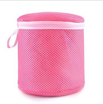 Women Underwear Bra Washing Aid Laundry Saver lingerie mesh Wash basket bag triangolo cilindro rosa bianco, Tessuto, Red, Cylinder Youthus ISOMA06