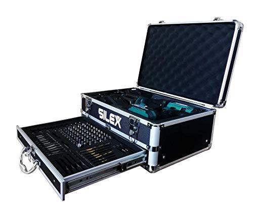 Silex/® + 110 accessori Silex/® smerigliatrice 20 V con 2 batterie agli ioni di litio 2 Ah e 5 Ah Samsung Set trapano avvitatore a percussione