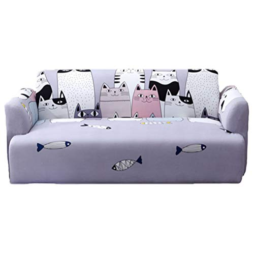 (1-Piece Cartoon Series Sofa Slipcover Couch Stretch Elastic Fabric Sofa Protector Chair Loveseat Couch Settee Sofa Covers Pet Dog Protector Sofa Cover 1 2 3 4 Seater,Purple,2seater(145/185cm))