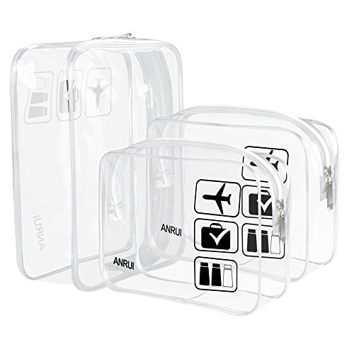 ANRUI Clear Toiletry Bag TSA Approved Travel Carry On Airport Airline Compliant Bag Quart Sized 3-1-1 Kit Travel Luggage Pouch 3 Pack (Clear) ()