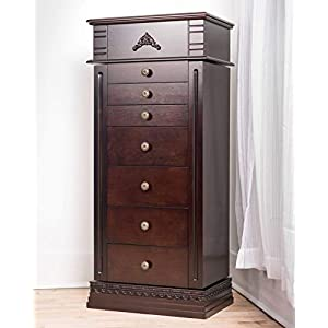 Haven Home 6008-783 Shiloh Standing Cabinet Jewelry Armoire, 18-5/8″ x 12-1/8″ x 42-1/8″, Walnut